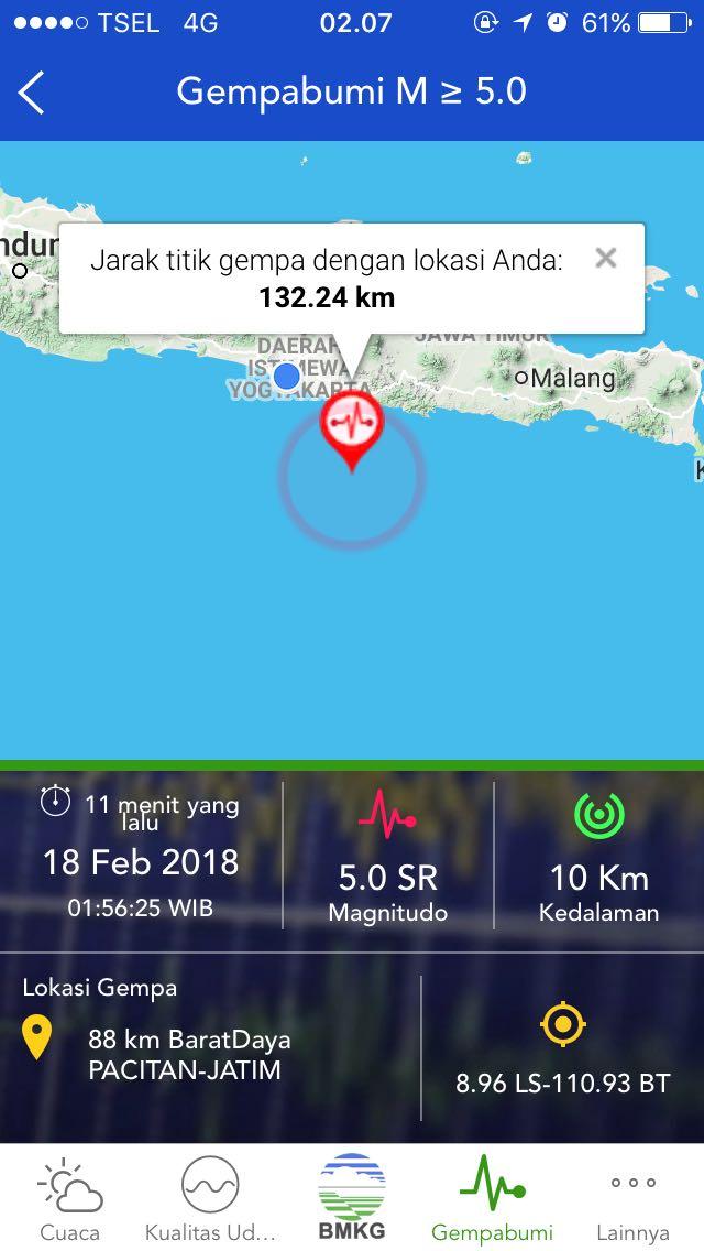 info gempa 18 februari 2018