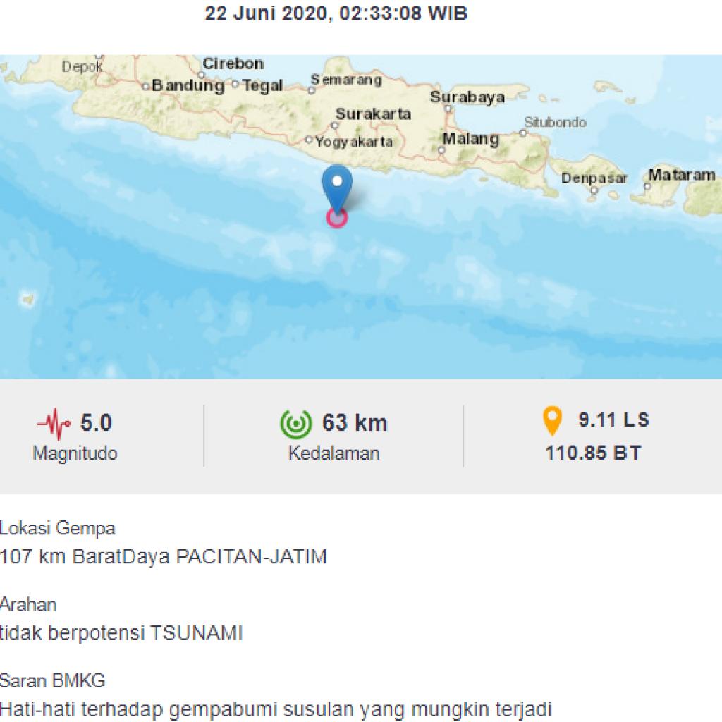 gempa 22 juni 2020